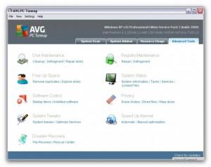 Hoofdmenu AVG PC Tune up 2011